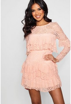 Womens Blush Boutique  Lace Ruffle Skater Dress