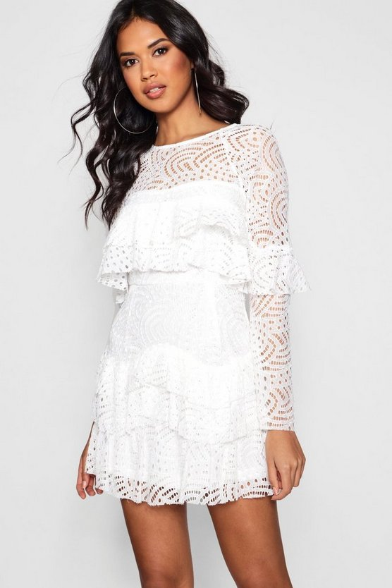 Womens Ivory Boutique  Lace Ruffle Skater Dress