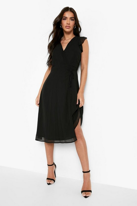 Womens Black Ruffle Wrap Skater Dress