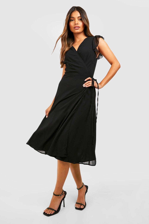 b145d6c52e Womens Black Ruffle Wrap Skater Dress. Hover to zoom