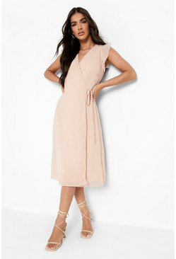 Womens Nude Ruffle Wrap Skater Dress