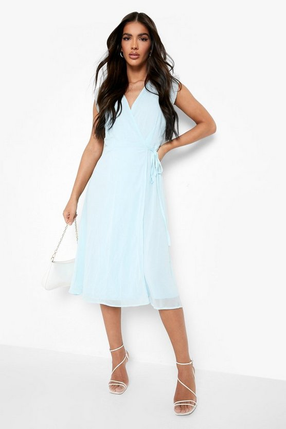 Womens Sky Ruffle Wrap Skater Dress