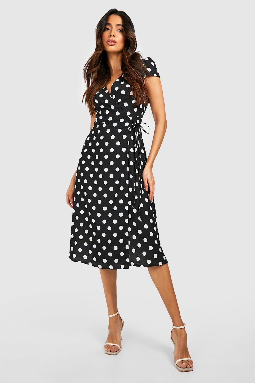 Polka Dot Dresses: 20s, 30s, 40s, 50s, 60s Womens Boutique Polka Dot Wrap Dress - black - 12 $15.00 AT vintagedancer.com
