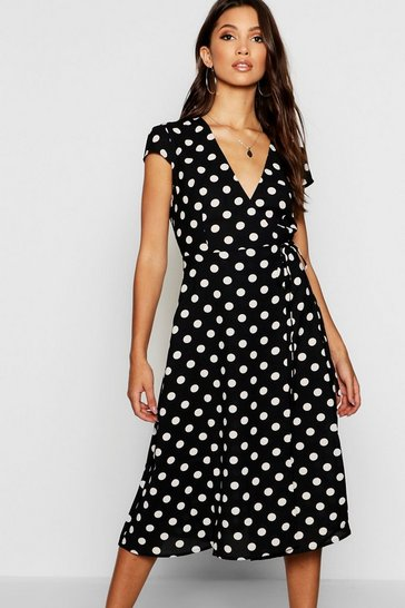 Black Boutique Polka Dot Wrap Dress