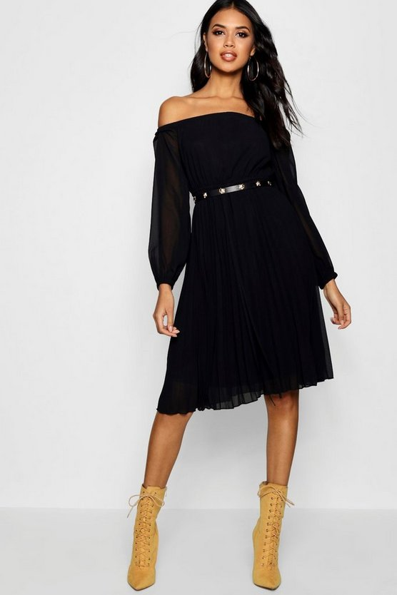 Womens Black Boutique Off the Shoulder Midi Skater Dress