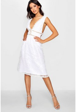 Womens White Boutique Panelled Skater Dress