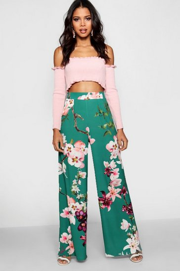 Emerald High Waist Oriental Wide Leg Trouser