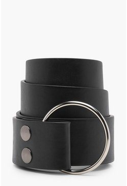 Womens Black O-Ring Popper Waist belt