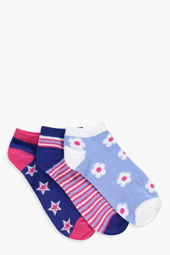 Kelly 3pk Star & Flower Trainer Socks