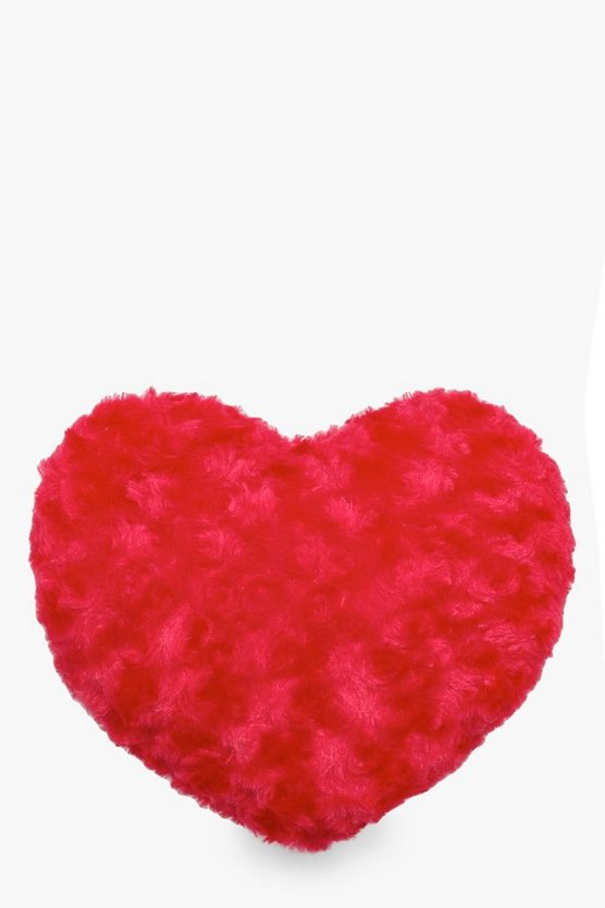 Red Fluffy Heart Cushion