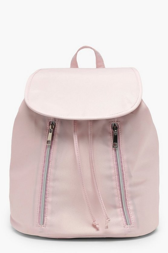 Pocket And Zip Satin Rucksack