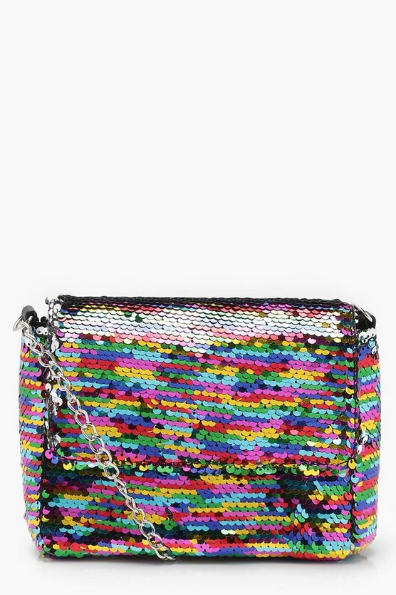 Womens Pink Rainbow Sequin Structured Cross Body