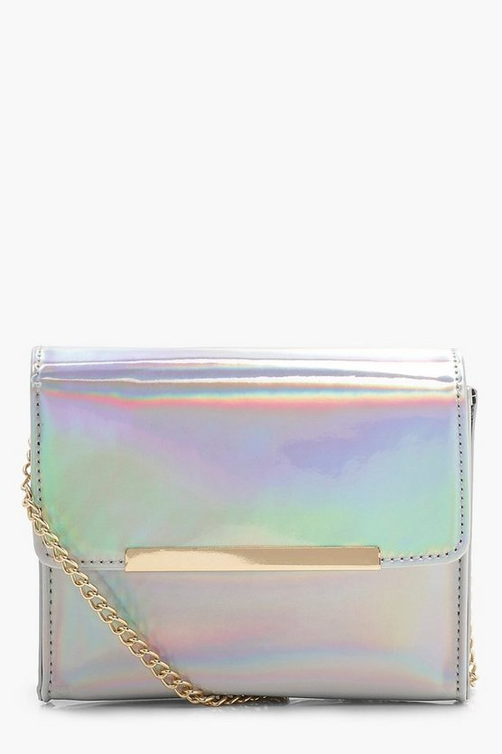 Womens Silver Silver Holographic Structured Cross Body