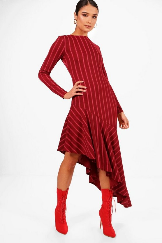 Womens Burgundy Asymmetric Hem Bold Stripe Shift Dress