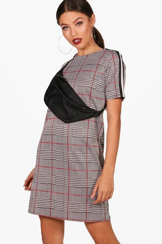 Checked Sports Trim Detail Bodycon Dress
