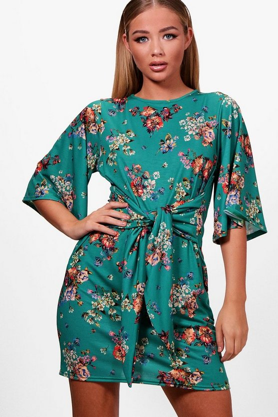 Womens Leaf green Tie Front Floral Shift Dress