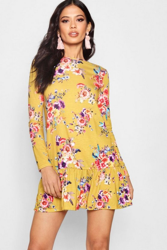 Floral Long Sleeve Drop Hem Shift Dress