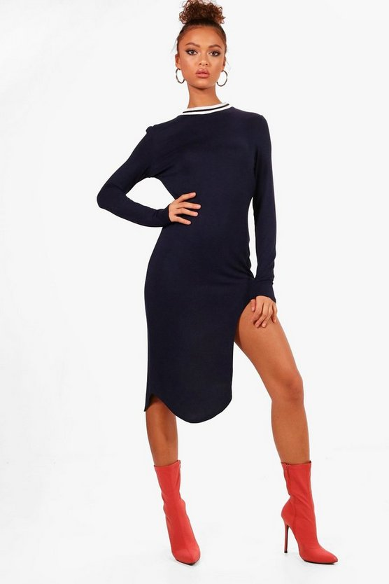 Navy Curved Hem Sports Trim Midi Dress