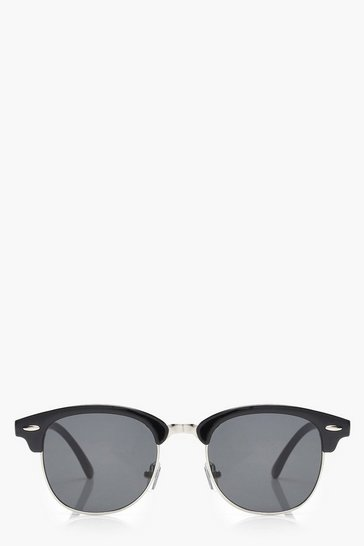 Black Retro Frame Sunglasses