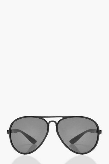 Womens Black Oversized Aviator Sunglasses