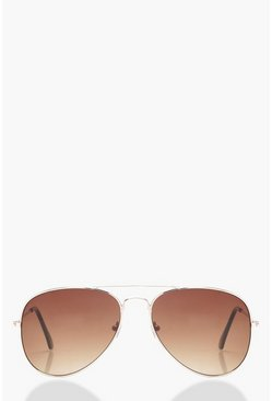 Womens Brown Aviator Sunglasses