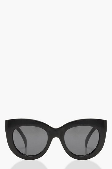 Womens Black Oversized Cat Eye Sunglasses