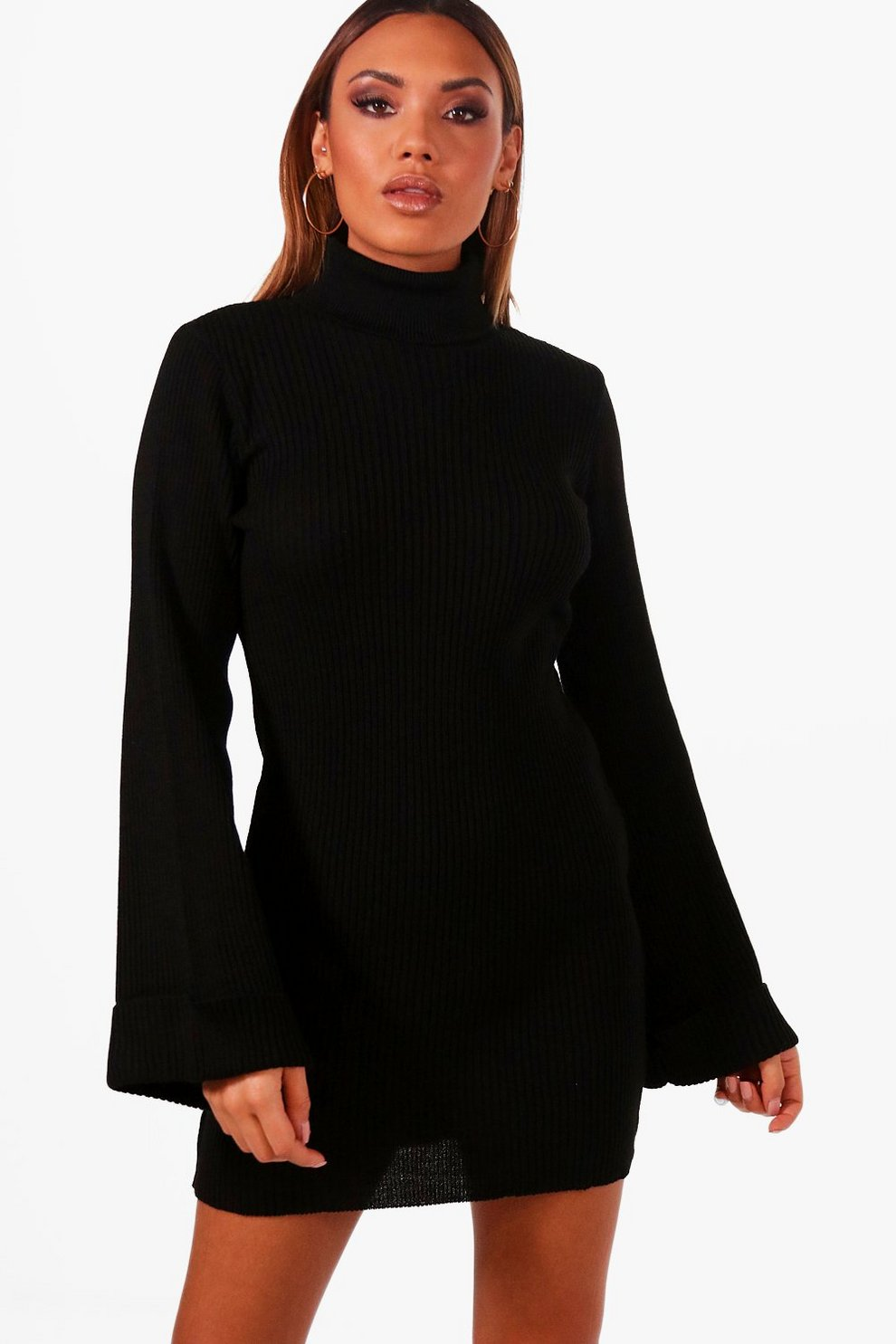 3dff9239622 Robe pull à col roulé manches larges