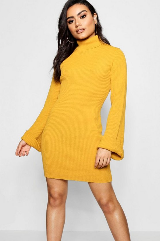 Wide Sleeve Roll Neck Jumper Dress