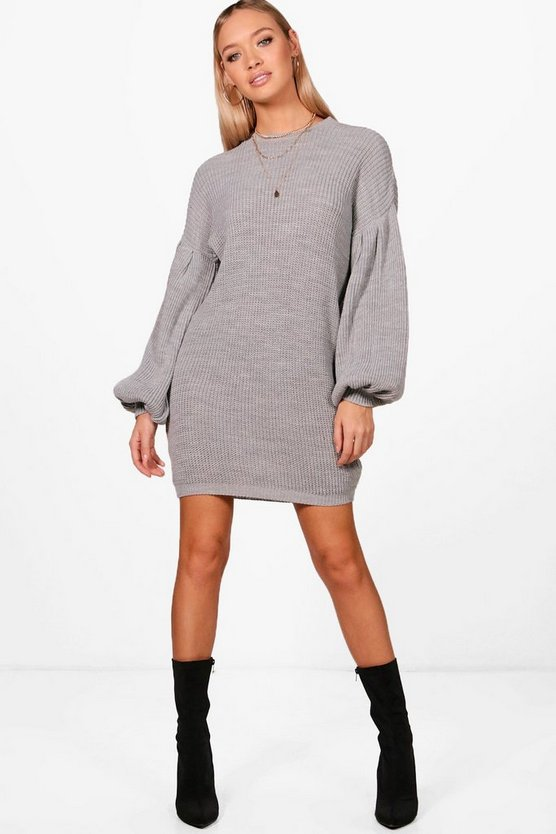Balloon Sleeve Jumper Dress