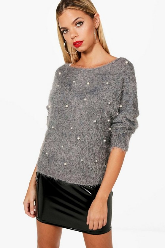 Fluffy Pearl Embellished Jumper