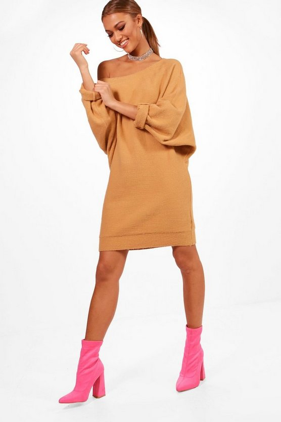Slash Neck Oversized Slouchy Soft Knit Dress