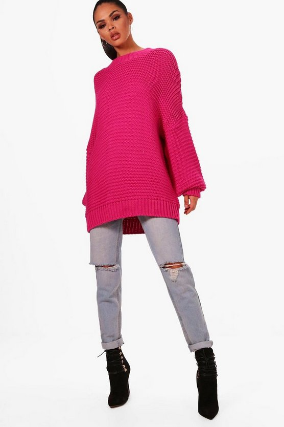 Womens Magenta Oversized Balloon Sleeve Knitted Jumper