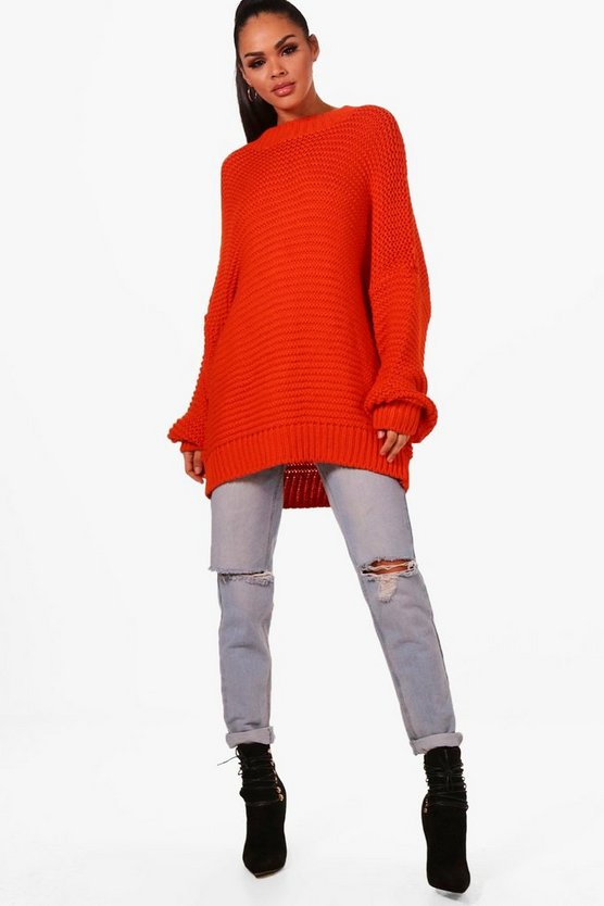 Oversized Balloon Sleeve Knitted Jumper