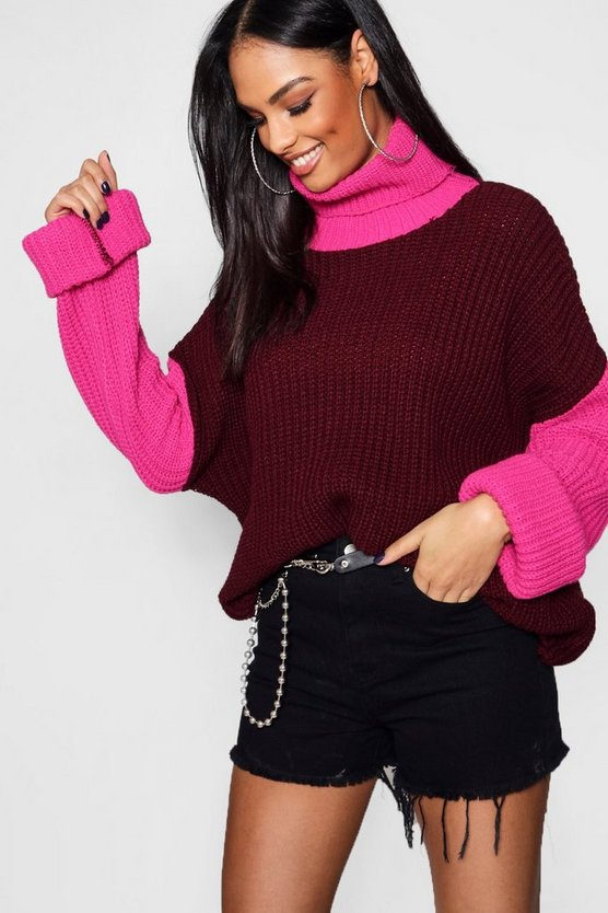 Womens Berry Colour Block Wide Sleeve High Neck Jumper