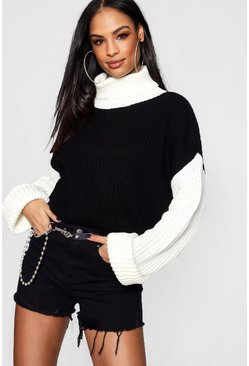 Womens Black Colour Block Wide Sleeve High Neck Jumper