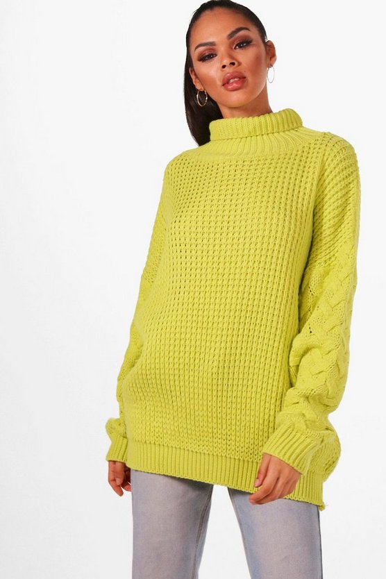 Oversized Roll Neck Cable Sleeve Knitted Jumper