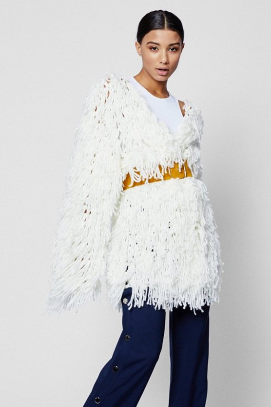 Longline Shaggy Knitted Cardigan
