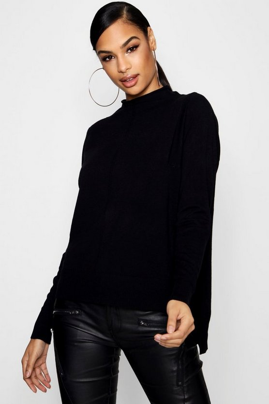 Soft Knit Dip Hem Polo Neck