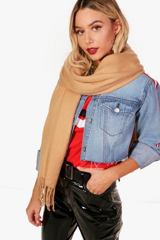 Ivy Brushed Tassel Oversized Scarf