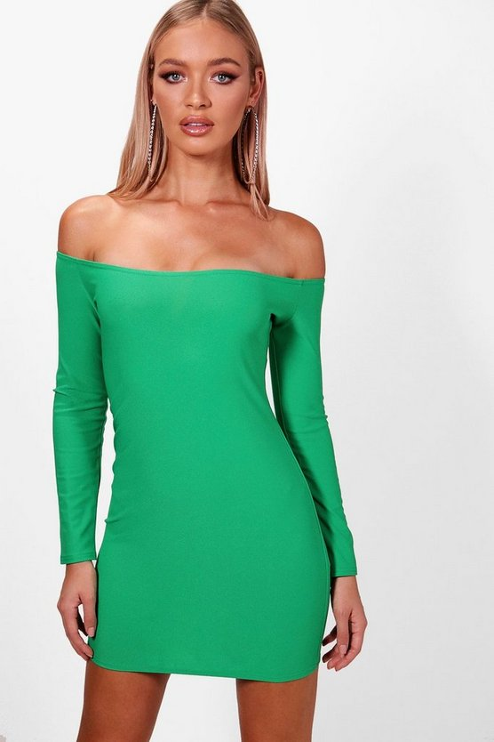 Curved Off the Shoulder Bodycon Dress