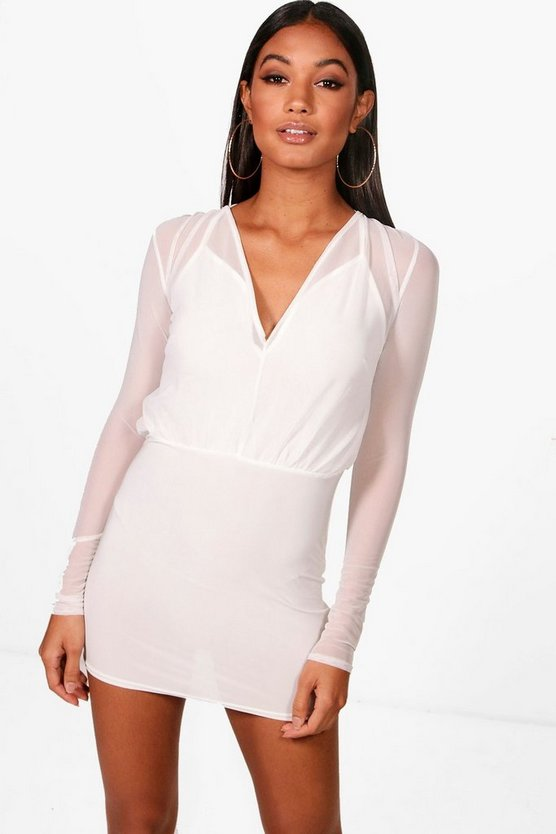 Mesh 2 in 1 Strappy Micro Mini Bodycon Dress