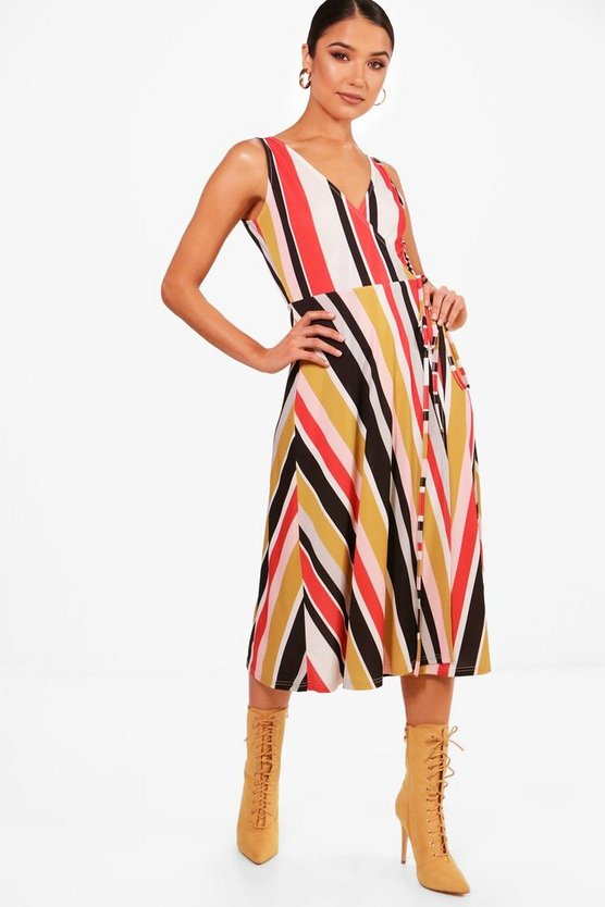 Plunge Tie Waist Stripe Midi Skater Dress
