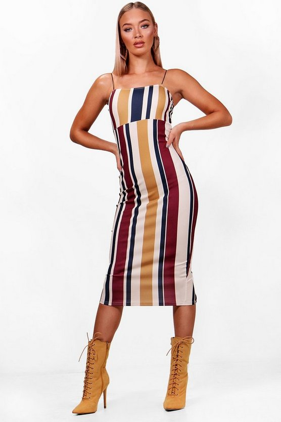 Stripe Strappy Midi Dress