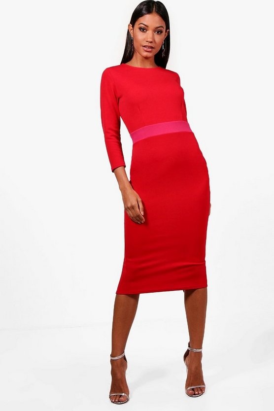 Formal Contrast Waist Midi Dress