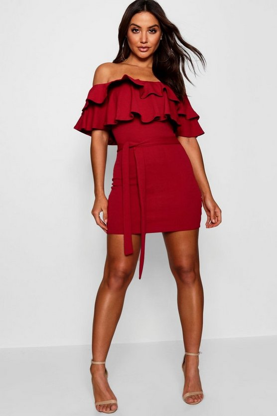 Bardot Layered Frill Belted Bodycon Dress