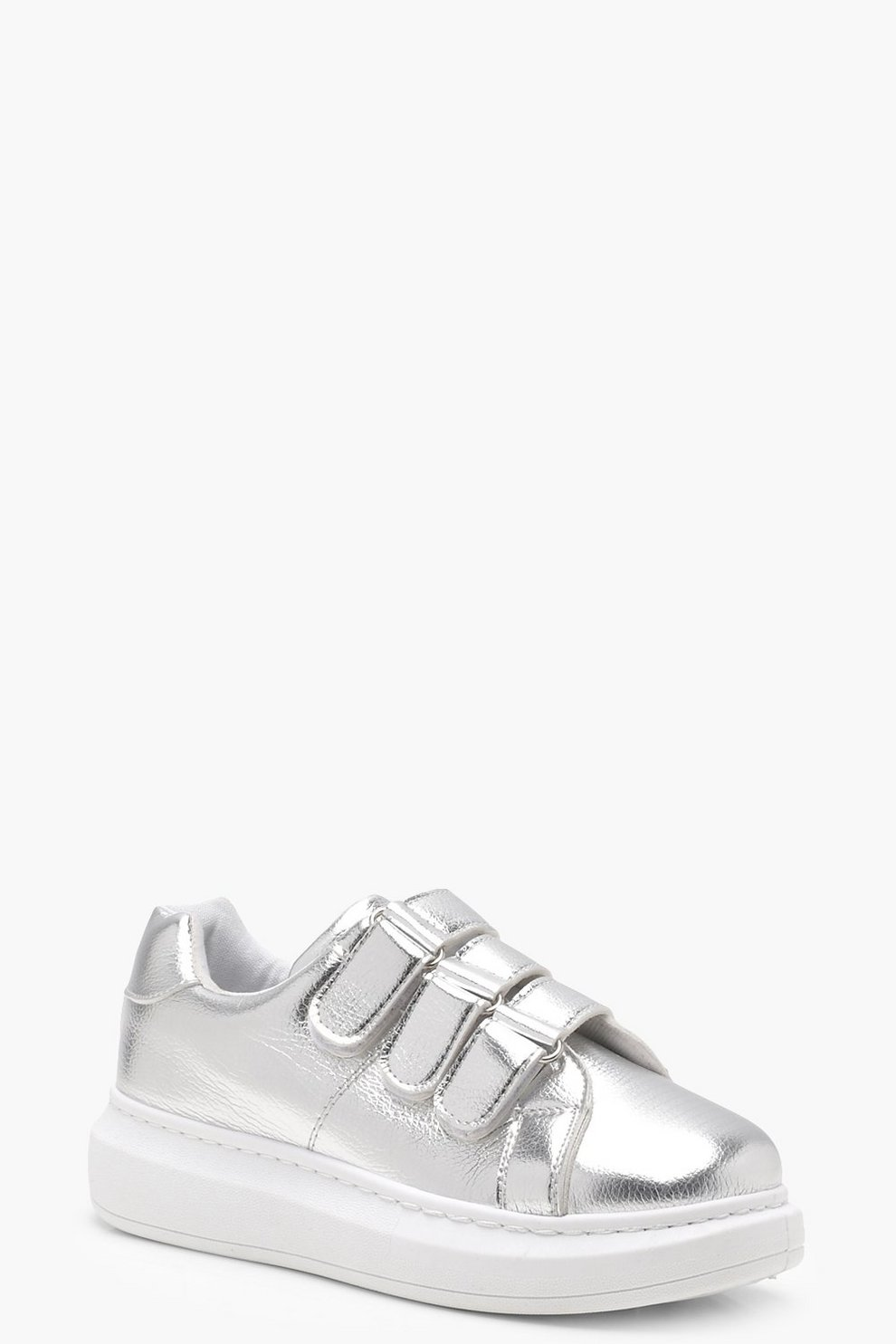 431d726fb Zapatillas de deporte con plataforma metálica Velcro | Boohoo