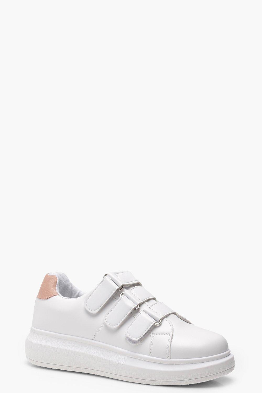 1b04d99ff Zapatillas de plataforma con tira Velcro, Blanco, Mujer. Pon el cursor  encima para hacer zoom