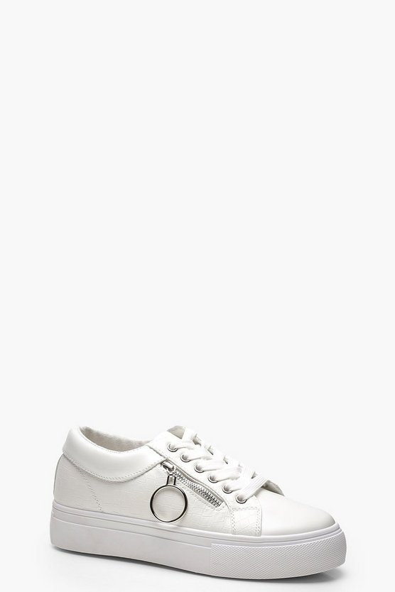 White Croc Zip Side Platform Trainers
