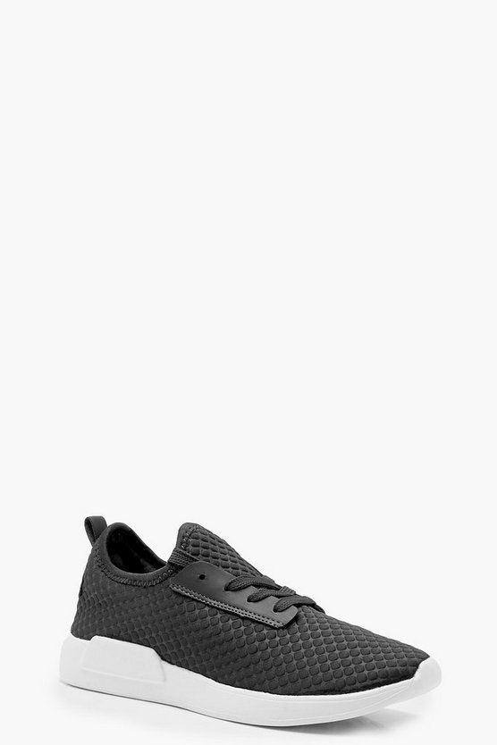 Textured Lace Up Sports Trainers
