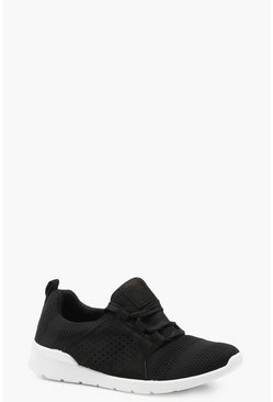 Womens Black Lace Up Sports Sneakers